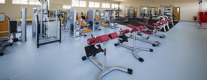 トレーニングルーム -フリーウェイトを中心とした機器を配置-